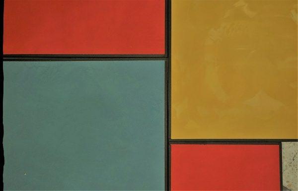 カラフルな左官のサンプル赤・黄色・青系