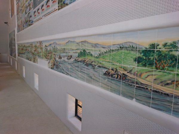 おとめ湯の和風タイル絵の壁