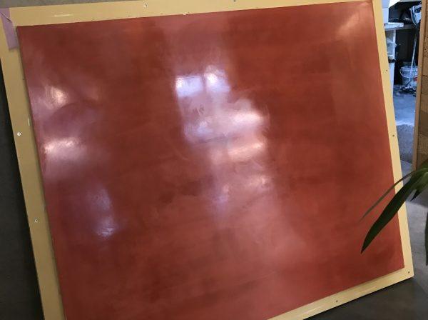 弁柄色の漆喰磨き