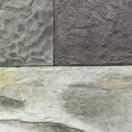 擬岩の見本板、ABC3種類の肌