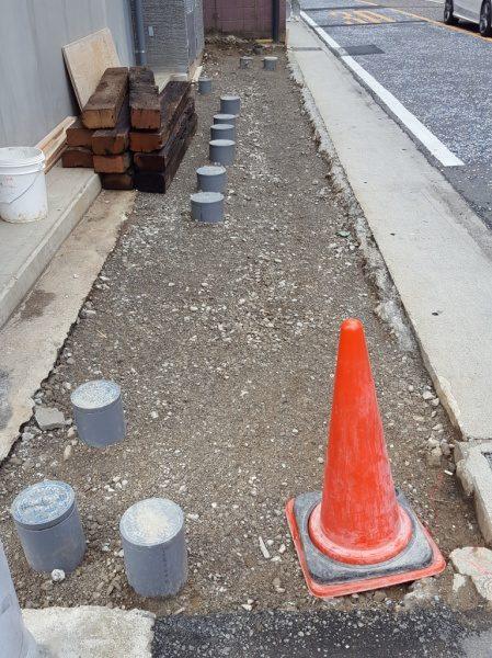 外構の床 掘削の模様