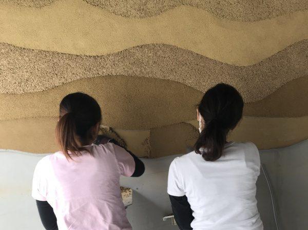 塗り版築 住宅展示場に施工