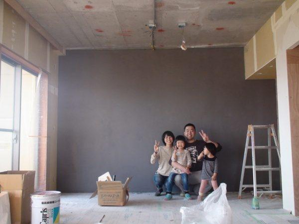 壁1面 色付きのフルーフレで仕上げました。