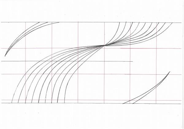 曲線が集まっていくデザイン図
