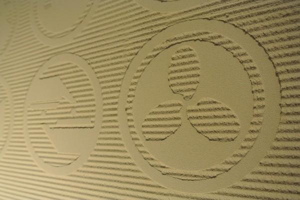 壁サンプル、両国で施工したレリーフ入りのジョリパット仕上げ
