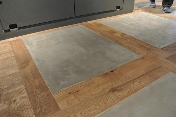 フローリング区切り箇所へポリーブルグレーを施工した床