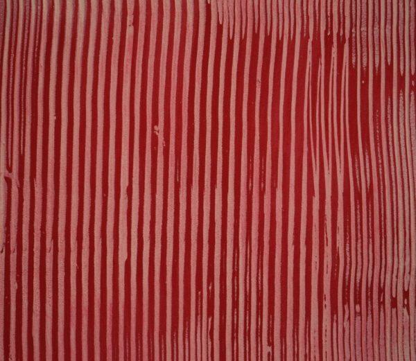 オルトレマテリア、白の櫛引仕上げに赤の材料を組み合わせたサンプル
