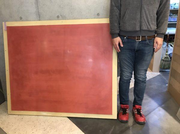 弁柄色の漆喰磨き 大判見本の製作です