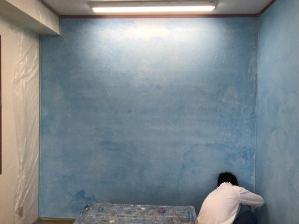 原田左官3F台湾の洗い出しネット施工中