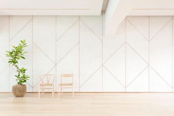 白いモールテックスの壁、2脚の椅子と観葉植物がある