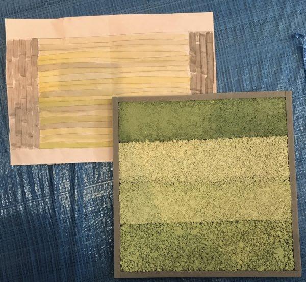 緑色の塗り版築仕上げサンプル見本と手書きの仕上がりイメージ