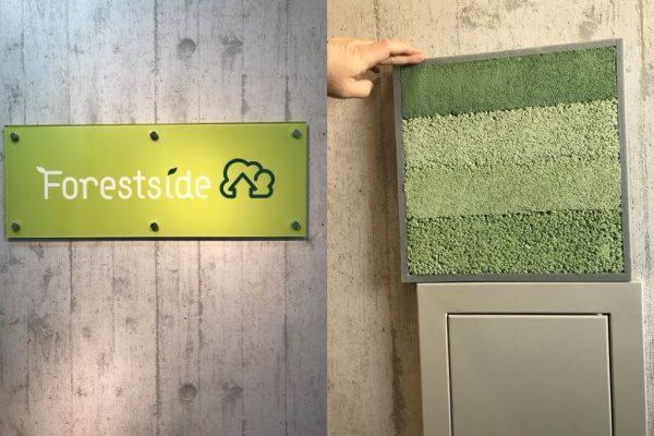 左の画像が蒲田の不動産屋さん株式会社フォレストサイド様の看板、右の画像が緑色の塗り版築仕上げサンプル見本と施工前の壁の状態で下は点検口