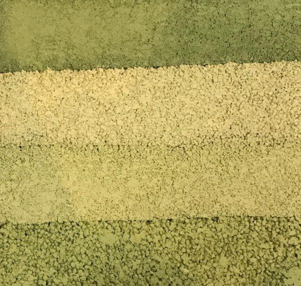 緑系塗り版築のサンプル見本、若干明るめ