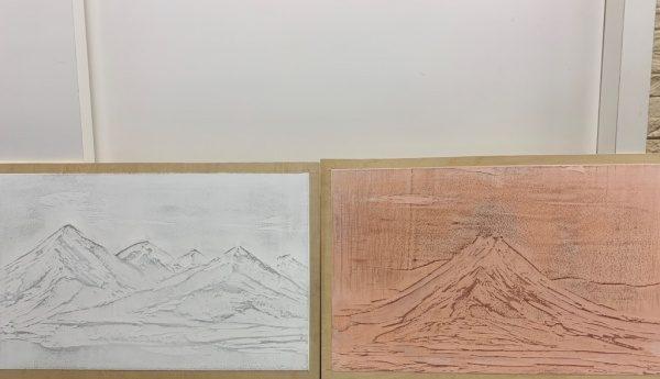 石灰クリーム磨き仕上げで制作した白富士と赤富士
