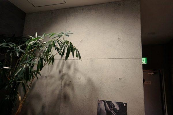電球色の照明に照らされているコンクリート打ち放し風仕上げの壁。原田左官ショールーム