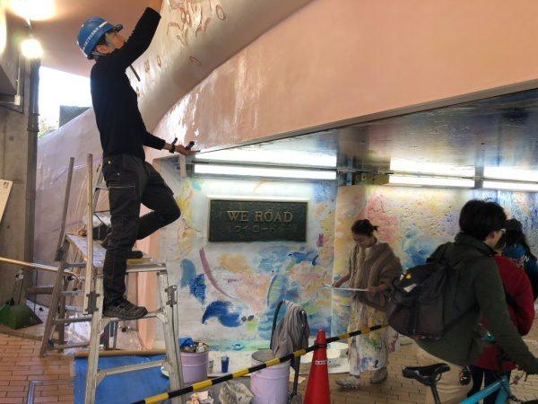 池袋ウイロード再生事業漆喰塗り施工。原田左官齋藤さん