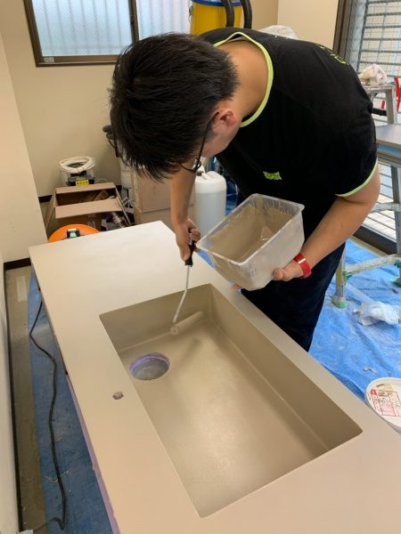 キッチンにオルトレマテリアエコビコ塗り施工