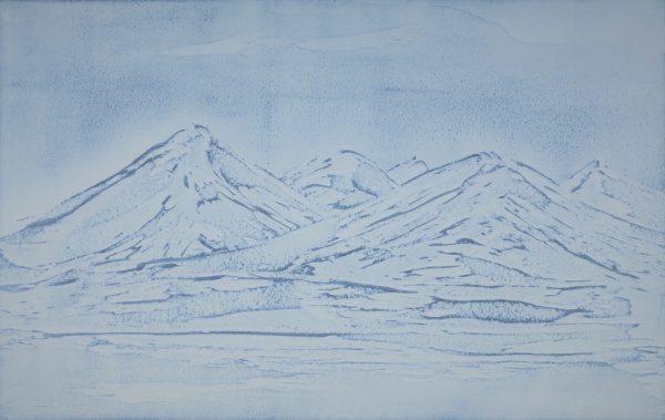 青色磨き壁、雪山仕上げ