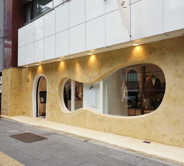 秋葉原マザーハウスe.。原田左官カラーモルタル外壁施工。完成した店舗外装の全体図