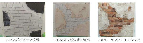 モルタル造形の施工手順説明画像