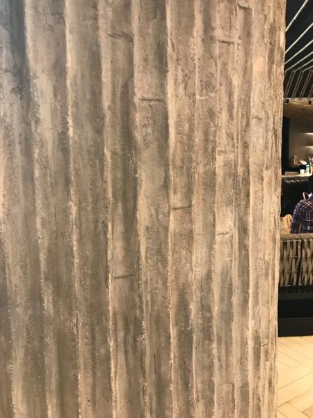 竹モルタルの壁。スターバックスの台湾101タワー店