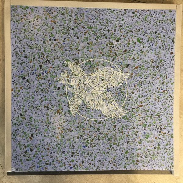 ビールストーン青のレーザー彫刻サンプル