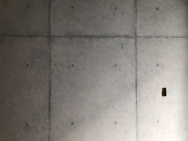 原田左官コンクリート打ち放し風仕上げ壁面に施工