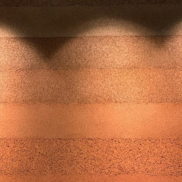 塗り版築 赤 - 住宅展示場内部に施工