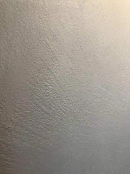 オルトレマテリアメディア白色で施工後にオルトレマテリアフィーネ白色で塗り重ねたシャワールームの壁