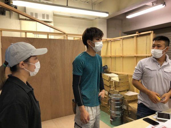 原田左官技能五輪練習会。講師は和田タイル様