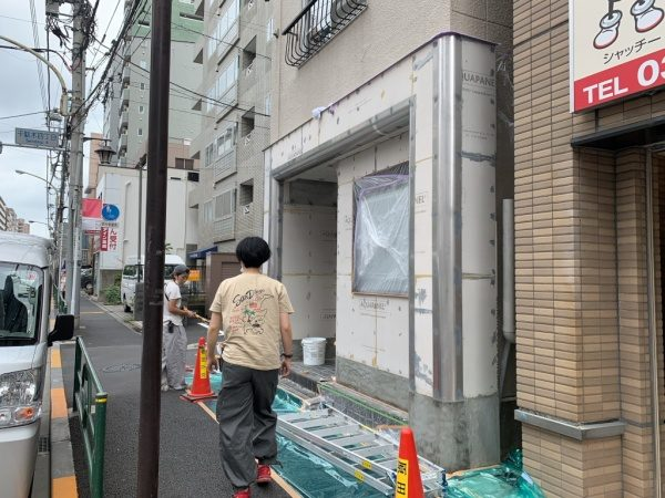 原田左官タイルライブラリーの外壁。施工前の外壁下地の状態