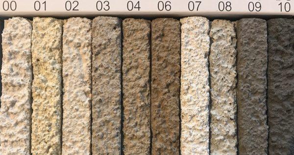 原田左官洗い出しネットストーン用の目地サンプル標準色10種類。カラー別で10種類