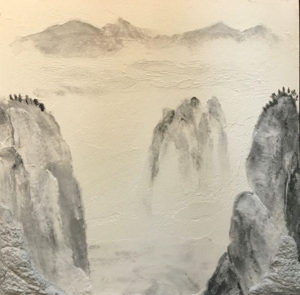 漆喰を使った水墨画風仕上げ壁サンプル