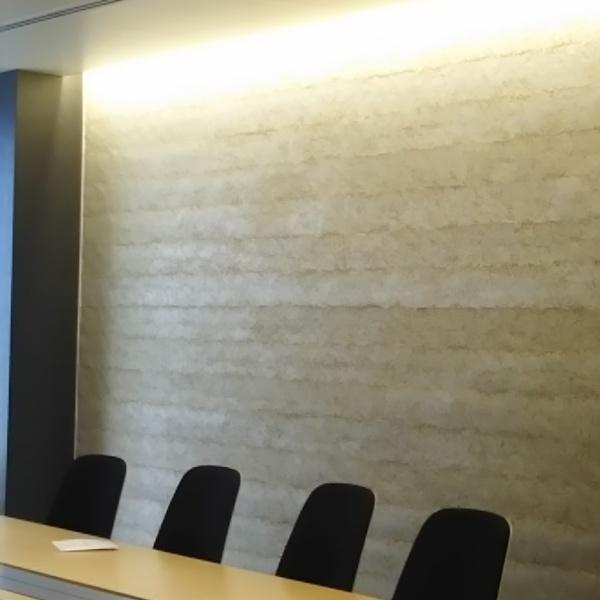 塗り版築琉球石灰岩仕上げ - オフィスで使用