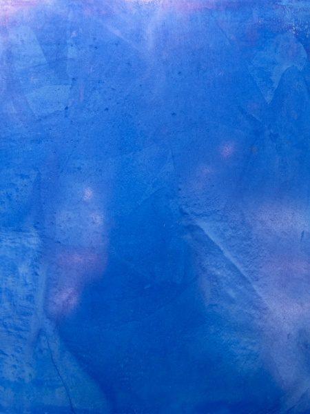 シャインスタッコ、イタリアンスタッコ調仕上げ青色サンプル。原田左官施工