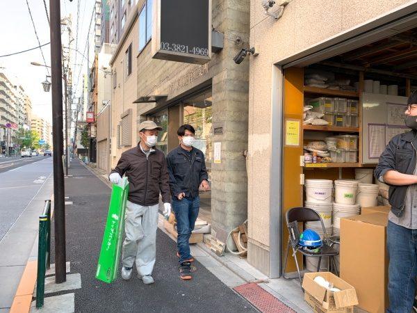 原田左官の左官職人中島さんと営業工事管理堀井さん